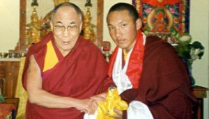 His Holiness the Gyalwang Karmapa meets His Holiness the Dalai Lama for the first time upon his arrival in Dharamsala on January 5 2000