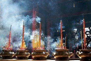 Incense prayer sticks in Thien Hau Pagoda Hochi Minh Vietnam