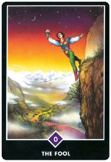 In the Osho Zen Tarot deck the Fool is classically depicted as dancing on the edge of a cliff, in a state of blissful contemplation.