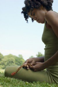 Meditation with a mala on Buddhis Mantras is healthy