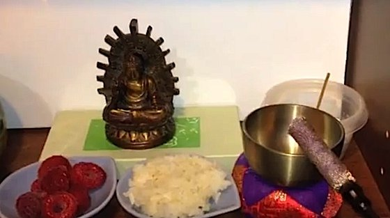 A very simple shrine can be temporarily or permanently set up on a table or shelf for daily practice. The important thing is not to make excuses for not practicing, but to just do it, regardless of access to shrines, teachers, and sangha.