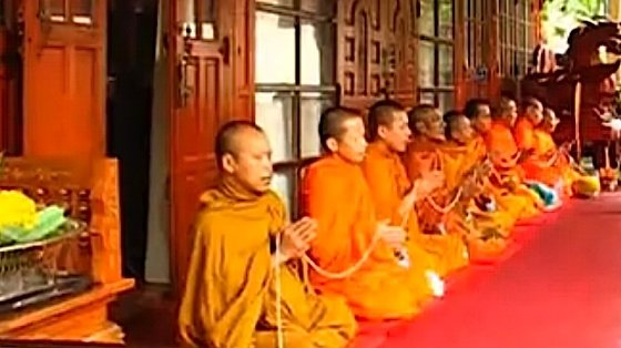 Monks chanting at a temple. Prayers such as the Seven Limb Prayer or countless others are recited daily by countless millions of Buddhists.