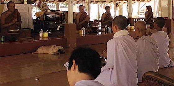 Buddha Weekly 3Monks in Buddhist Monestary Temple praying