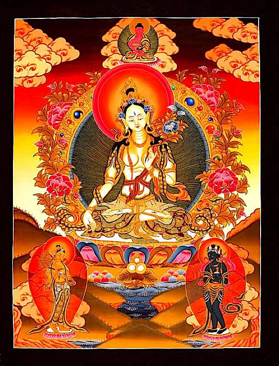 White Tara has Her own mantra, Oṃ Tāre Tuttāre Ture Mama Ayuḥ Punya Jñānā Puṣtiṃ Kuru Svāhā, known to be actively beneficial in the practices of Long Life and Health.
