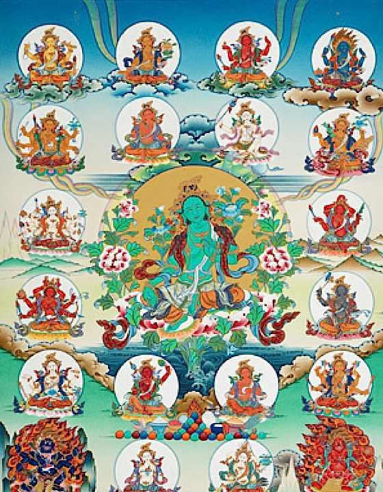 Tankha depicted Mother Tara and the 21 Taras.
