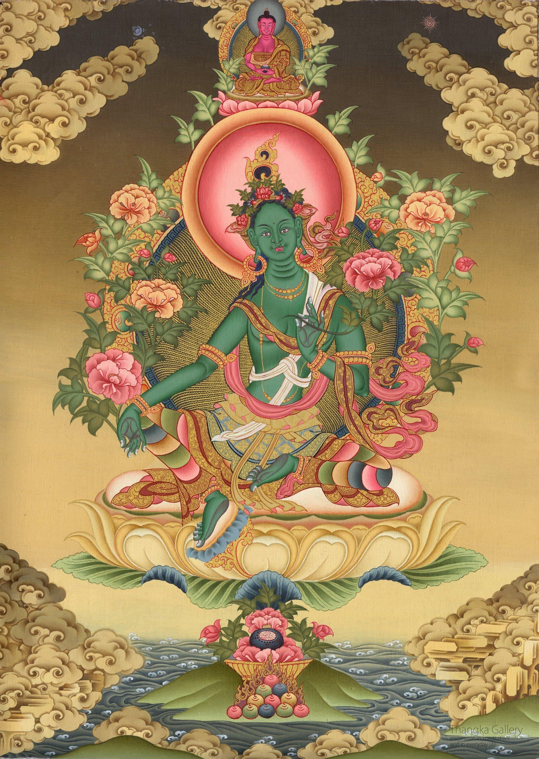 Green Tara with Amitabha her guru