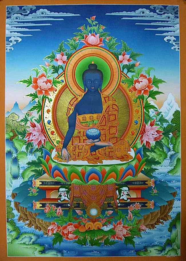 The Lapis Lazuli Medicine Guru is revered in many countries by different names: Sanye Menla (Tibetan སངས་རྒྱས་སྨན་བླ།, or just Menla), Medicine King, Medicine Guru, Yaoshifo (藥師佛 Chinese name), Nyorai or Yakushi (in Japan 薬師, 薬師如来), Yaksabul or Yaksayeorae (약사불, 약사여래 in Korea)or Lapis Luzuli Buddha.