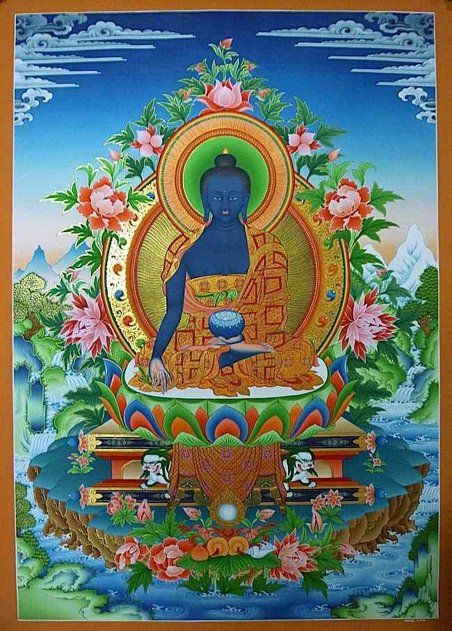 El Lapislázuli Medicine Guru es venerado en muchos países con diferentes nombres: Sanye Menla (tibetano སངས་ རྒྱས་ སྨན་ བླ །, o simplemente Menla), Medicine King, Medicine Guru, Yaoshifo (藥師 佛 nombre chino), Nyorai o Yakushi ( en Japón 薬 師, 薬 師 如 来), Yaksabul o Yaksayeorae (약사불, 약사 여래 en Corea) o Lapis Luzuli Buddha.