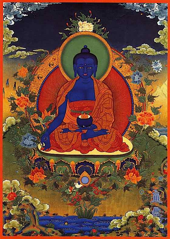 The Lapis Lazuli serenity of Medicine Buddha is healing.