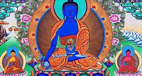 "Medicine Buddha and his ""brothers"" are an effective visualization and practice to help with illness or ill fortune. Here the Lapis Lazuli Medicine Buddha Bhaisajyaguru is surrounded by his Medicine Brother emanations and crowned (top) with Shakyamuni Buddha who not only taught Medicine Buddha practice — he is considered a Medicine Buddha Himself."