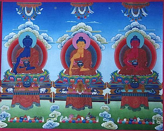 In China and Japan, Bhaisajyaguru is part of the most important trinity of Buddhas, here shown in traditional form with Shakyamuni in the centre, Medicine Buddha on the right (of Shakyamuni, left to the viewer) and Amitabha Buddha on the opposite side.