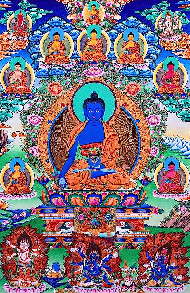 Lapis Lazuli Medicine Buddha, is a beloved healing Buddha. Bhaisajyaguru made 12 vows when he was still a Bodhisattva. Simply calling his name brings healing.