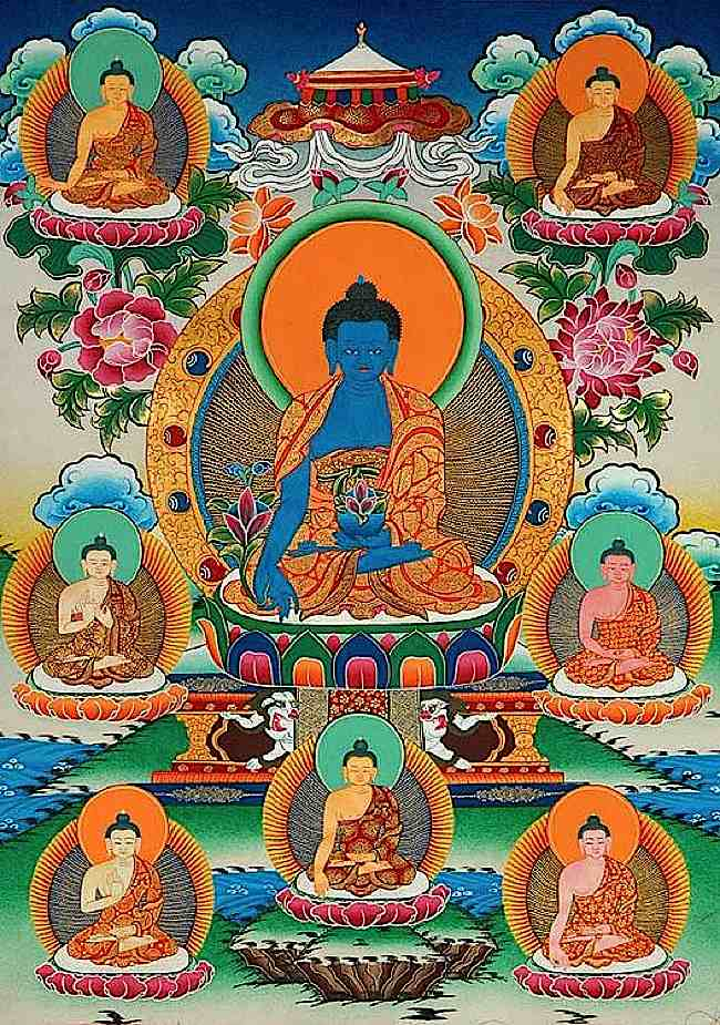 The Eight Medicine Buddhas. In the centre is Bhaisajyaguru Vaduraprabha, the Lapis Lazuli Medicine Guru, surrounded by the other healing Buddhas. Shakyamuni is the eighth Medicine Buddha.