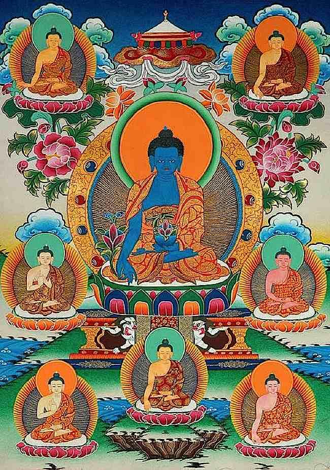 Los ocho Budas de la Medicina.  En el centro está Bhaisajyaguru Vaduraprabha, el gurú de la medicina lapislázuli, rodeado por los otros Budas curativos.  Shakyamuni es el octavo Buda de la Medicina.