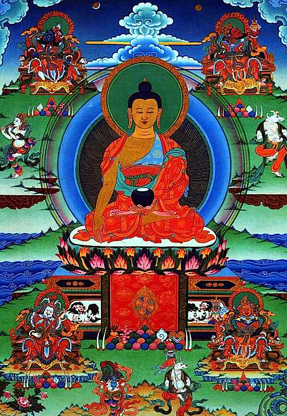 the buddha shakyamani At the center of the moon disk, standing upright, is the syllable mum surrounding this are the syllables of shakyamuni buddha's name mantra.