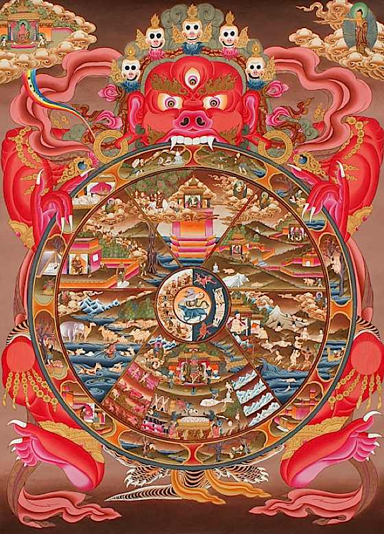 Spectacular tankha of the wheel of suffering, illustrating samsara and ...