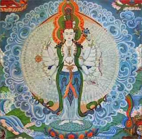 In Heart Sutra, the compassionate Bodhisattva Avalokitesvara (Chenrezig) teaches emptiness.