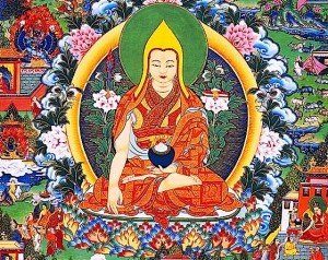 Buddha Weekly 0Lama Tsong Khapa on lotus thrown with Manjusri sword prajnaparamita sutra