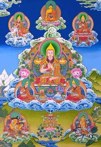 Beautiful Tangkha of Lam Tsongkhapa, the founder of the Gelug school of Tibetan Buddhism, who is considered to be an Enlightened Buddha.