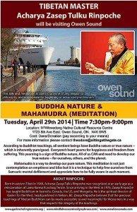 Buddha Weekly Archarya Zasep Tulku Rinpoche Owen Sound Mahamudra Meditation Event Buddhism