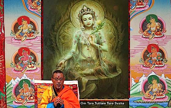 Green Tara, Mother of All Buddhas. Inset is Venerable Zasep Tulku Rinpoche who will be teaching at a Tara retreat in Toronto at Gaden Choling in April 2014. In the background surrounding Green Tara are manifestations of the 21 Taras.