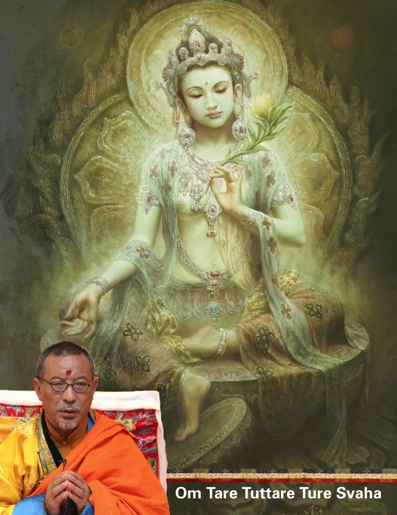 Green Tara, the Mother of All Buddhas, is a suitable meditational Buddha for all practitioners. Inset, the most Venerable Zasep Tulku Rinpoche.