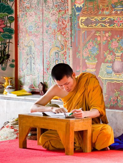 buddhist-monk-writing