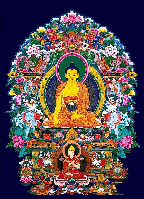 In Vajrayana Buddhist traditiona, teachers must be able to trace lineage unbroken back to Shakyamuni Buddha. This tankha honours both Shakyanmuni Buddha, and the great Lama Tsonkhapa.