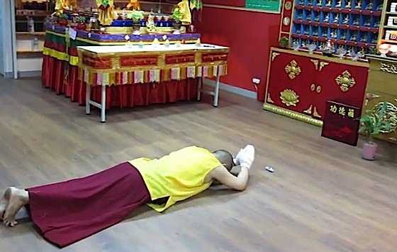 The full prostration is sometimes difficult to accept for western Buddhists. It is a sign of respect for Buddha, Dharma, Sangha and Guru, and also a remedy for pride.