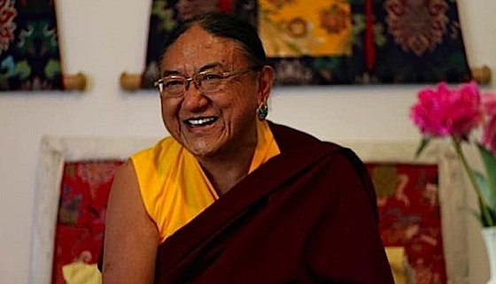 His Holiness Sakya Trizin enjoys a good laugh.