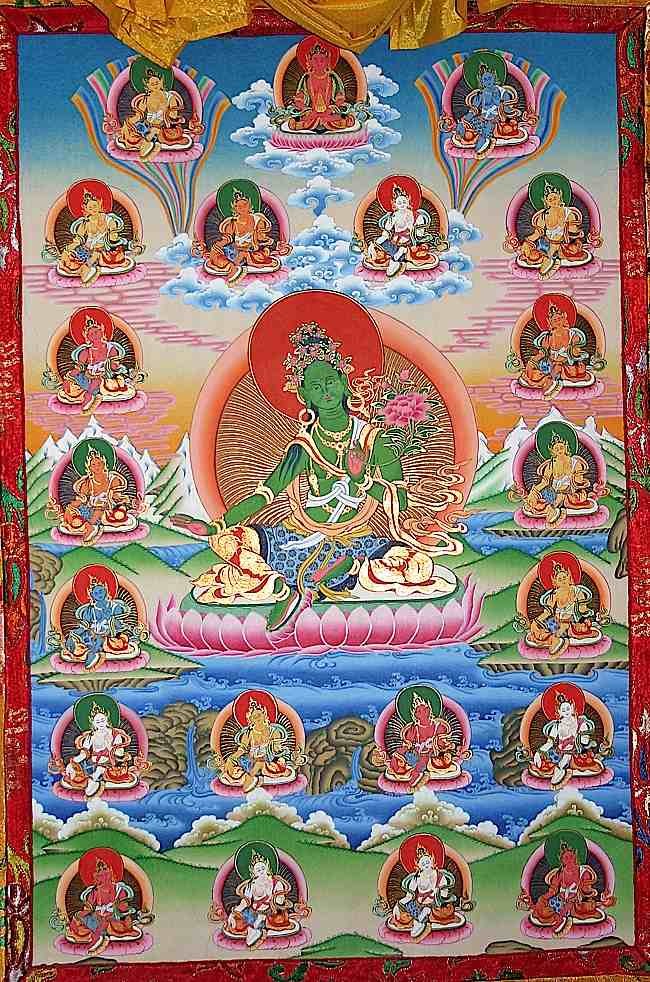 The 21 forms of Tara include White Tara and Green Tara, among the most beloved deities in Tibetan Buddhism.