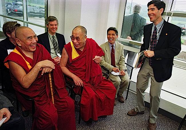 The renowned teacher Geshe Sopa meets with His Holiness the Dalai Lama at the University of Wisconsin. Here pictured with Psychology professor Richard Davidson, and other faculty, in a photo from the University.
