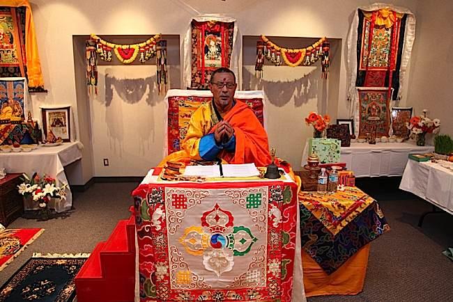 Zasep Tulku Rinpoche at a teaching retreat.