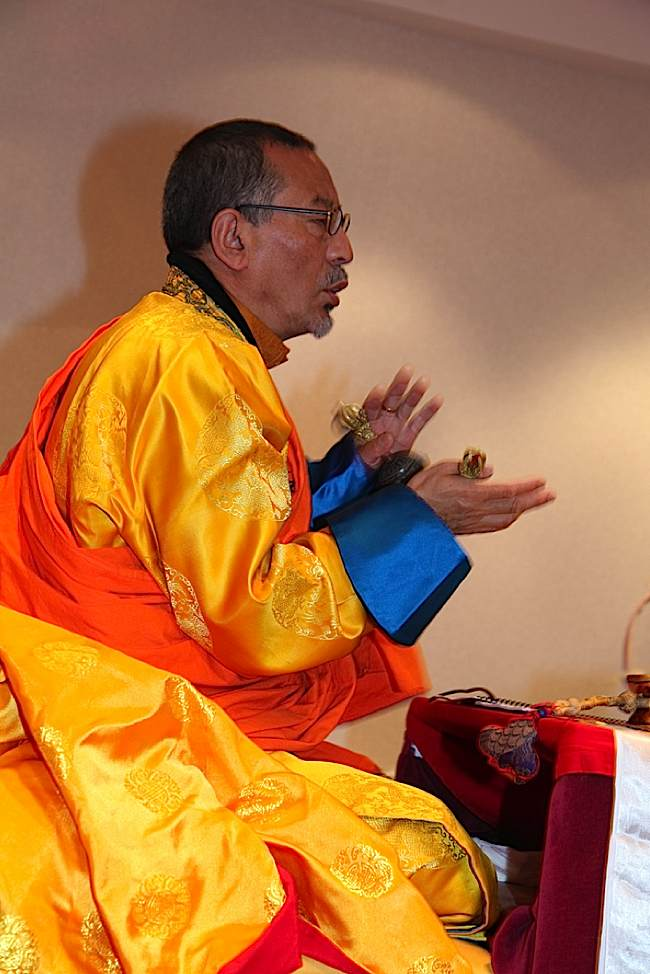 His Eminence, Zasep Tulku Rinpoche using Bell and Vajra during an empowerment. Zasep Tulku is the spiritual head of a number of Buddhist Centers, including Gaden Tashi Choling Retreat Centre in Nelson, BC, Canada, Vancouver, BC, Calgary, Alberta, Toronto, ON, Ottawa, ON, Thunder Bay, ON, Seattle, WA, Moscow, ID, Kalamazoo, MI, and Tasmania, Australia.