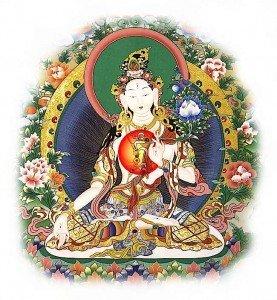 Buddha Weekly White Tar with Tam symbol visualization Buddhism