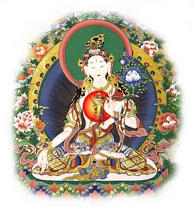 White Tara visualized here with a white TAM seed syllable at her heart. TAM is the seed syllable of all Taras, who are all Tara. Typically Green Tara is visualized as a green Tam, and White Tara as a white syllable. The seed syllable contains the essence not only of the mantra, but also Tara Herself.
