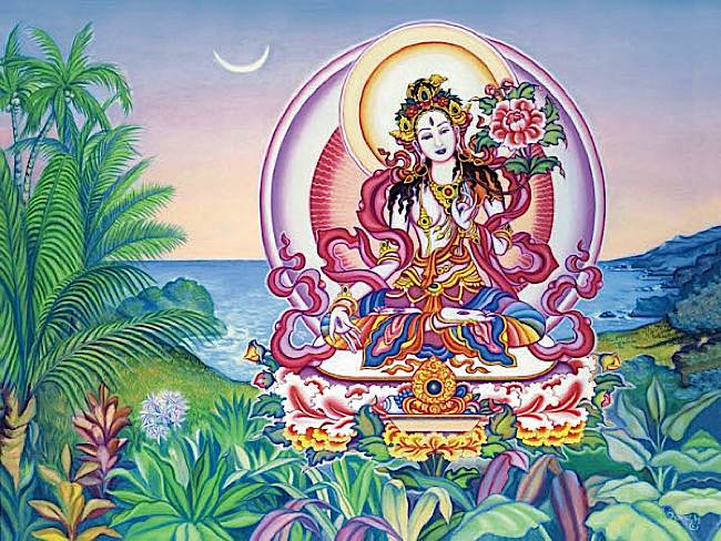 Sita Tara or White Tara visualization. Tara is white, with one face, two hands, holds uptala flowers and sits on a lotus throne and moon disc.
