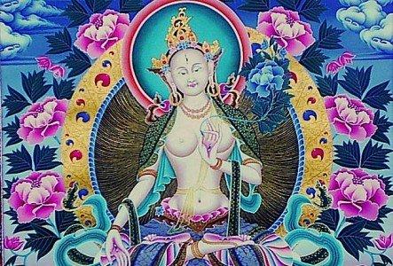 Buddha Weekly White Tara floral horizontal Buddhism