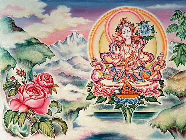 Buddha-Weekly-White Tara with Roses-Buddhism