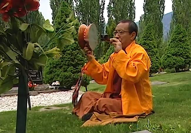 """Zasep Tulku Rinpoche with Chod drum. From the movie """"Please Come Again"""" featuring Zasep Tulku Rinpoche."""