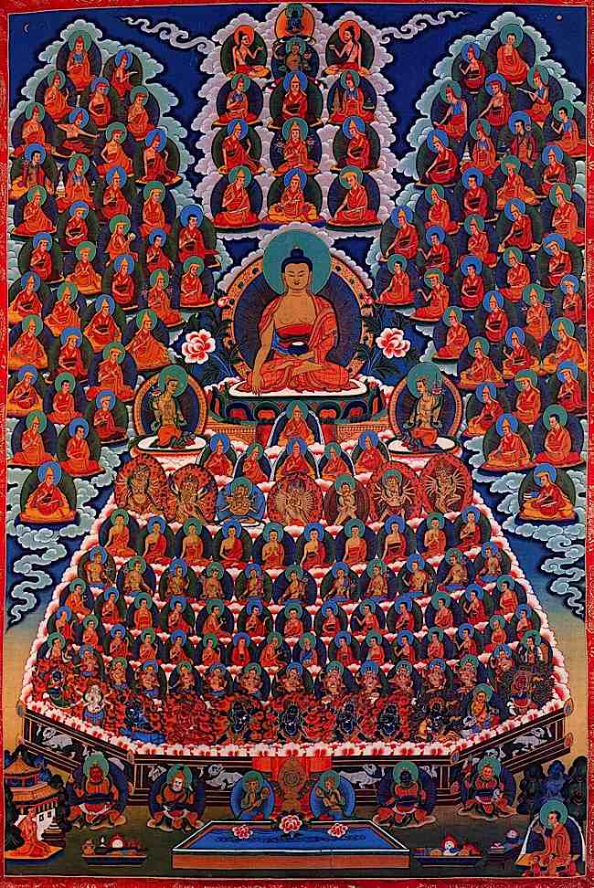 "Unique to Vajrayana are advanced and highly detailed visualizations of the ""Field of Merit."" The meditator tries to create and hold a vision of the lineage of buddhas, bodhisattvas, lamas, sages and mahasiddhis right back to Shakyamuni Buddha (here shown in the centre.) Then, mentally, we prostrate and make offering to the visualized gurus and deities. Such strenuous visualization trains and disciplines the mind, while also creating the conditions for positive merit."