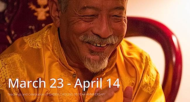 Venerable Zasep Tulku Rinpoche will help Gaden Choling celebrate it's 30th Anniversary celebration with teachings, a party, and a role in Tibetan opera, March 23-April 14, 2015.