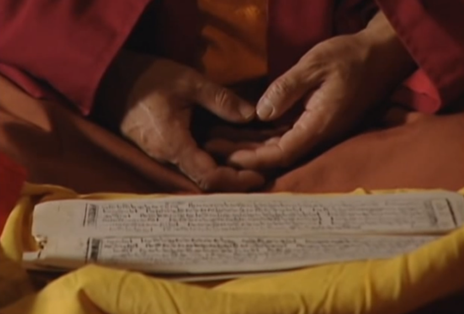 Formal sadhanas are transmitted in text form through an unbroken lineage from guru to guru back to the Buddha. Here, a meditator in lotus position meditates with a written text (Sadhana) as a guide. A Sadhana combines sounds (prayers and mantras), actions (mudras), intense visualizations (guided), even a sense of place (mandalas) and the six senses (smells, tastes, and so on from the visualized offerings.)