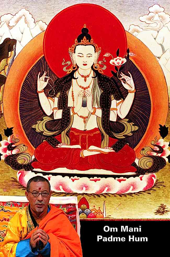 Four-Armed compassionate Avalokitesvara with Om Mani Padme Hum mantra. Also inset Venerable Zasep Tulku Rinpoche.