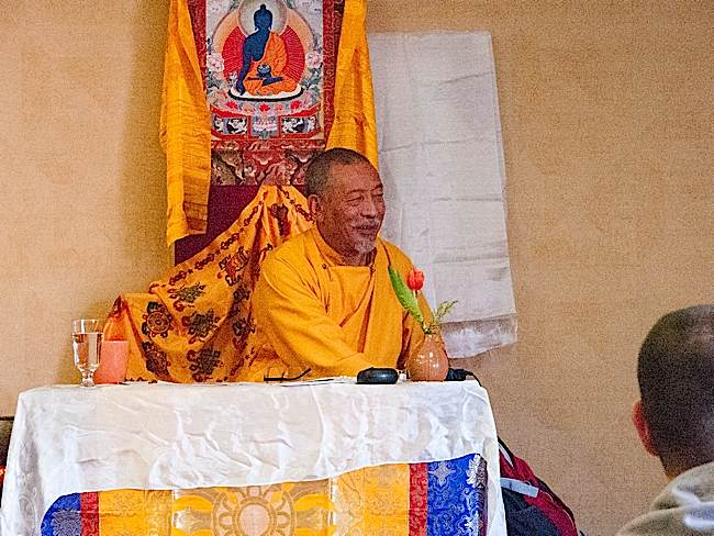 Zasep Rinpoche enjoys taking questions from students, often illustrating answers with colourful anecdotes. From the Mahamudra mini retreat Owen Sound, 2015.