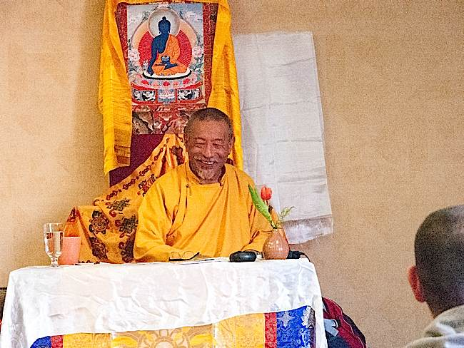 Zasep Tulku Rinpoche often shares humorous stories to the delight of his students.