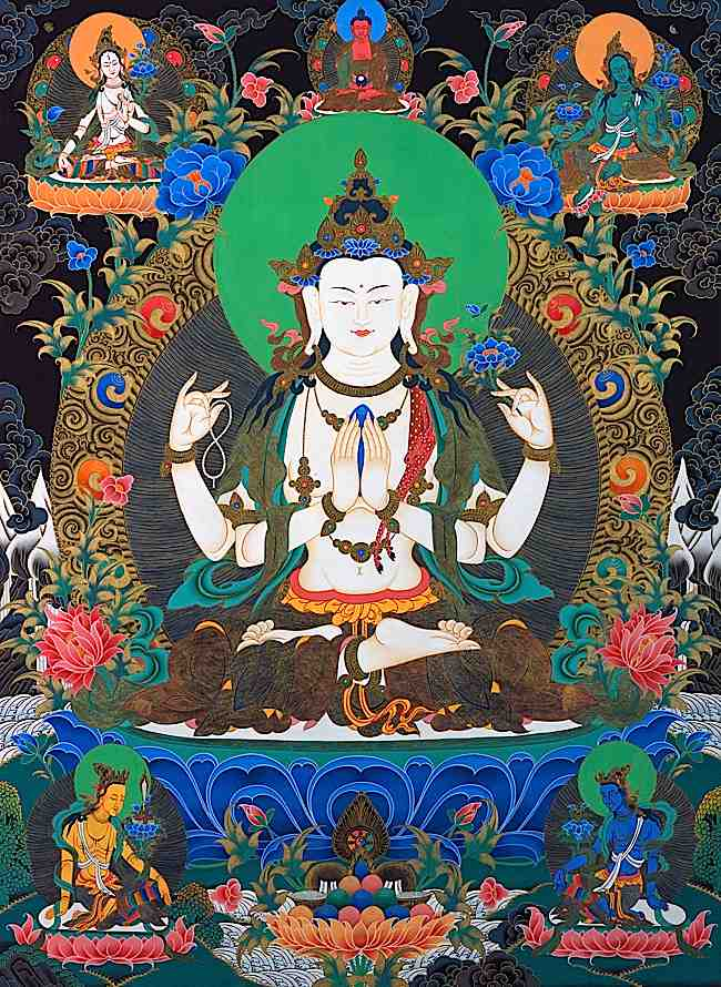 Above Avalokitesvara appear's his spiritual father Amitabha, the Buddha of Infinite Light. To the Left and Right of Amitabha are White Tara and Green Tara. Both Taras and Avalokitesvara are considered rescuers and saviours of people who are suffering.