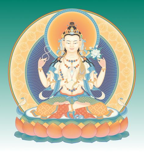 Probably the most popular meditation deity is Avalokitesvara, renowned around the word as the very embodiment of compassion. Lovely and peaceful Chenrezig practices are easy visualizations for most meditators.