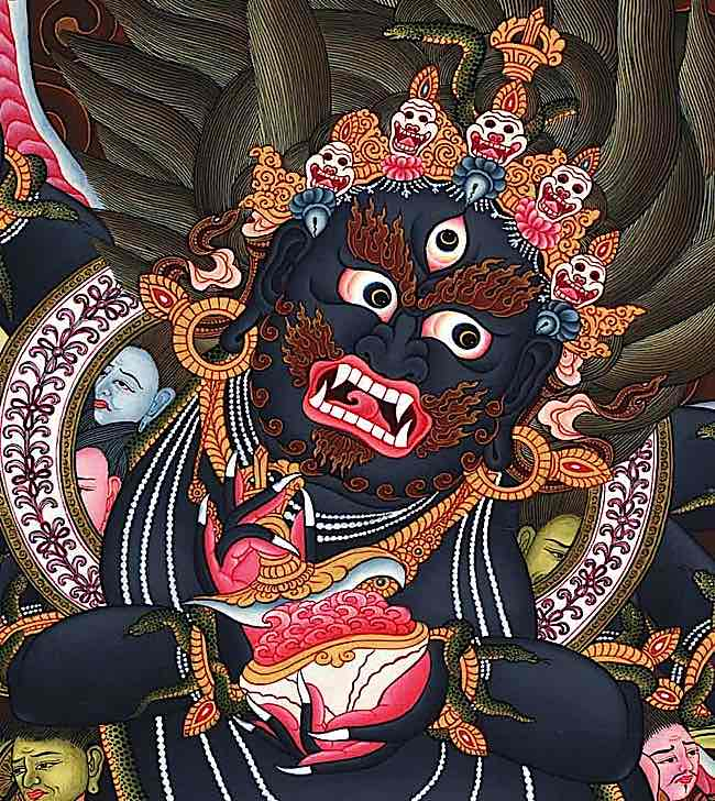 Black Mahakala is the fierce aspect of one of the gentlest of Buddhist Deities, the Compassionate One Avalokitesvara or Chenrezig.