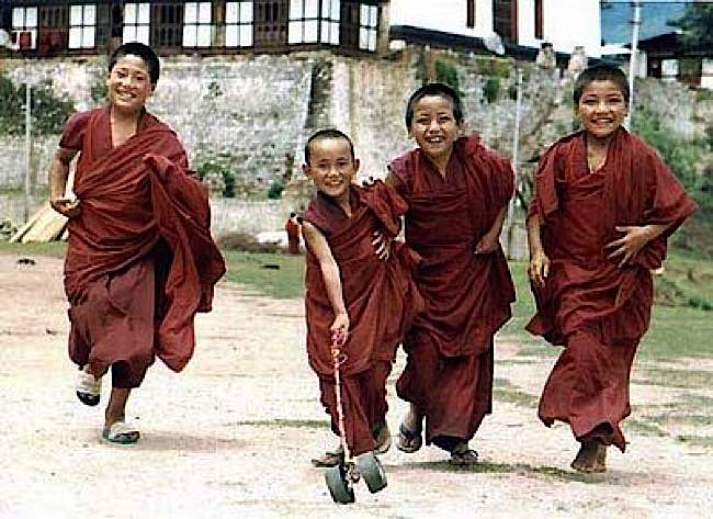 Bhutan monks are famously happy.